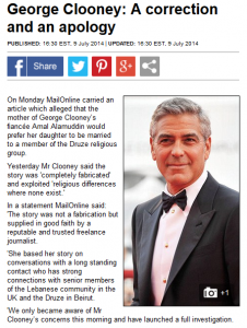Clooney Apology